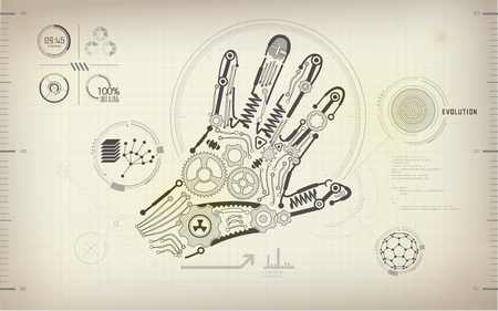 drawing blueprint of scientific hand
