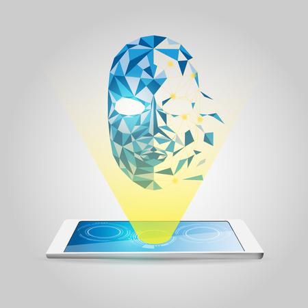 gadget: gadget and technology polygon head Illustration