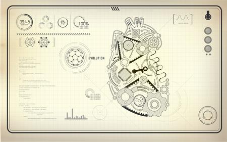 io: artificial heart, robot heart, technological blueprint, abstract technology