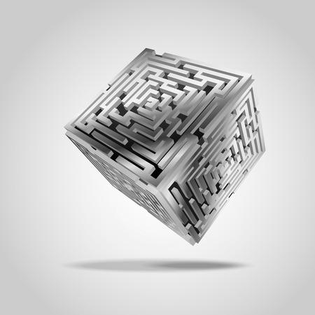 cubic: metal cubic, maze cubic, scientific symbol