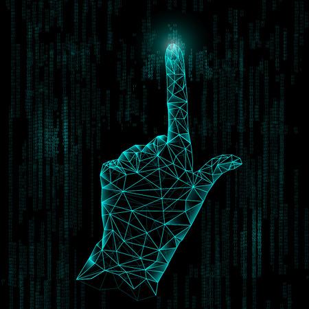 抽象的な技術、多角形手、デジタル技術