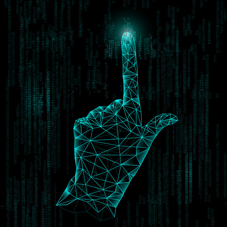 추상 기술, 다각형 손, 디지털 기술