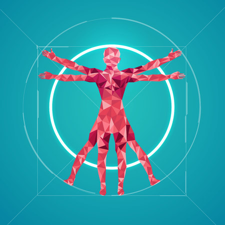 ci: abstract science, polygon man Illustration