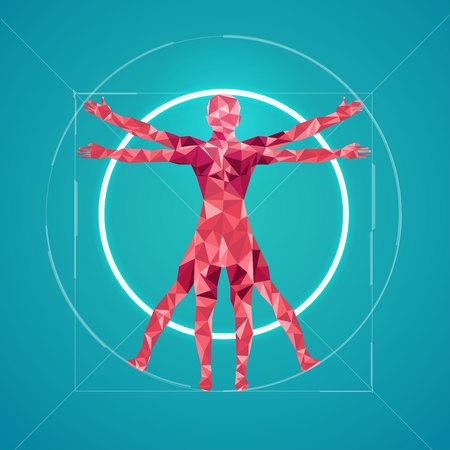 abstract science, polygon man Vectores