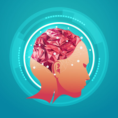 thinking link: polygon brain, abstract science, abstract technology Illustration
