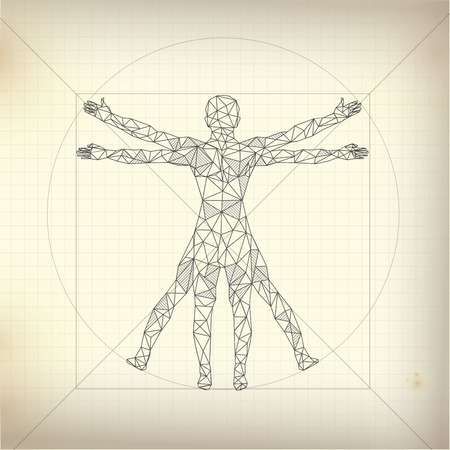 abstract science, drawing of proportion man