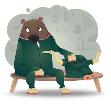 financing: bull and bear, financing metaphor, cartoon, funny stock marget cartoon