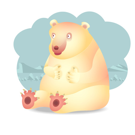charactor: polar bear charactor, cartoon, character design Illustration