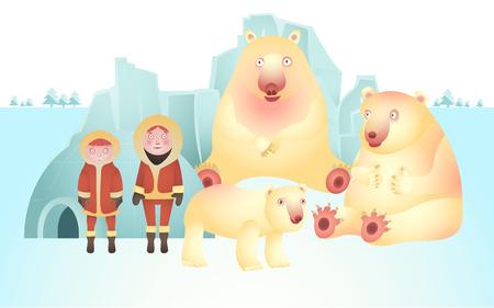 esquimales: carácter del oso polar y el esquimal, el vector de la vida Polo Norte Vectores