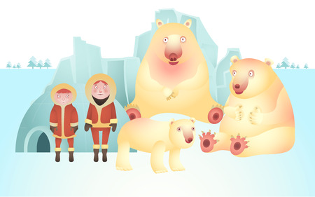 north pole: character of polar bear and eskimo, vector of North Pole life