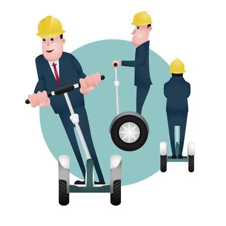 character design, businessman , character of a businessman using segway
