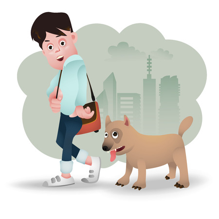 stray: cartoon, character of a teenager and a stray dog Illustration