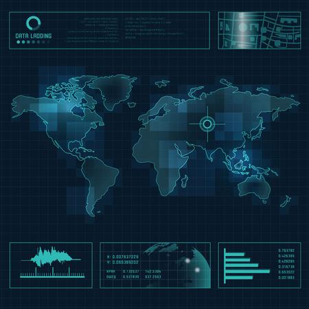 technological experiment, futuristic backdrop, radar interface Ilustração