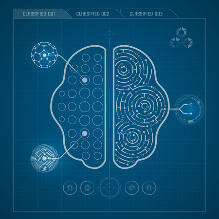electronical: brain in electronical looks, blueprint of brain
