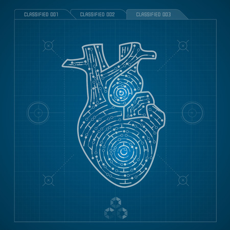 electronical: heart in electronical looks, blueprint of heart Illustration