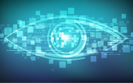 futuristic eye: abstract technological eye, futuristic backdrop, technology background