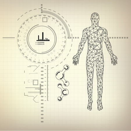 blue print of human, abstract sience, low poly man in drawing style, drawing of technology, scientific interface Ilustração