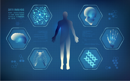 abstract technological health care; science blue print; scientific interface; futuristic backdrop; digital blueprint of human; 3D body part of human Illustration