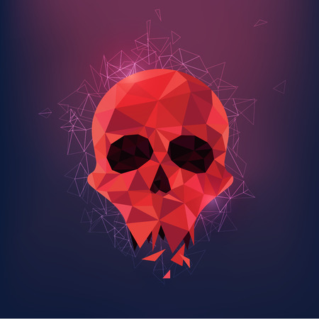 science symbols metaphors: low poly skull; polygon head with stlylistic backgroud; abstract polygonal backdrop Illustration