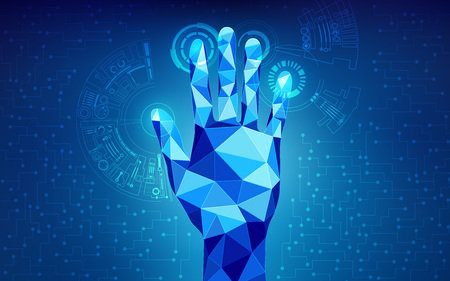 low poly hand touching interface; scientific analysis; futuristic background; abstract technology backdrop; blue digital theme; polygon hand in technological looks
