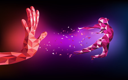 futuristic man: abstract of technological polygon hand, low poly running man, red purple technology revolution; futuristic backdrop; abstract science theme Illustration
