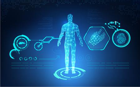 abstraite soins de santé technologique; la science d'impression bleu; Interface scientifique; toile de fond futuriste; modèle numérique de l'homme; partie du corps en 3D de l'homme
