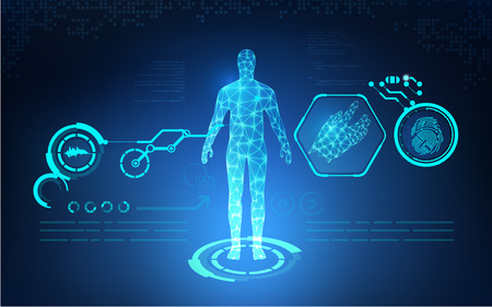 abstract technological health care; science blue print; scientific interface; futuristic backdrop; digital blueprint of human; 3D body part of human Vectores
