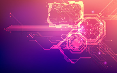 futuristic backdrop; abstract circuit background; blue pink digital technology