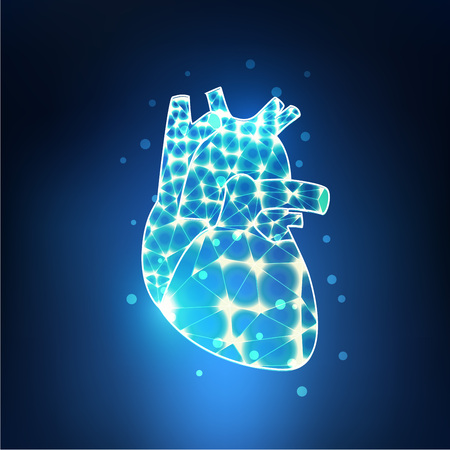heart in electronical looks, blueprint of heart; lighting heart in technology looks 일러스트