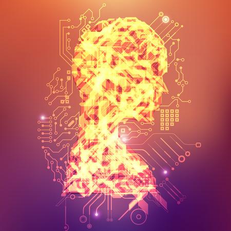 abstract technological health care; science blue print; scientific interface; futuristic backdrop; digital blueprint of human Ilustração