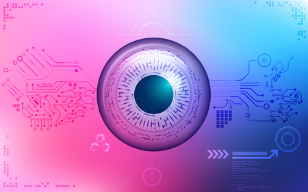 electronical: eye symbol in electronical looks, blueprint of an eye; abstract technology; abstract technology background; colorful electronic eye