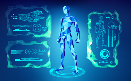 futuristic man: scientific interface; futuristic backdrop; abstract technology background; blue digital theme; polygon man in technological looks; low poly human in teachnological looks