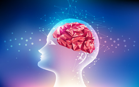 graphic of a brain in technological look; abstract technological health care; science blue print; futuristic backdrop; digital blueprint of brain; 3D body part of human