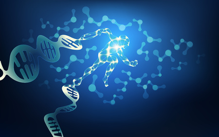 mutation: scientific background; abstract science backdrop; human DNA running away; technology of mutation; bioengineering in blue theme; wireframe man running