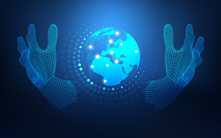 abstract technology backdrop, futuristic backdrop, digital modern globe, wireframe hand holding global; abstract science backgrond; communication world in wireframe hand