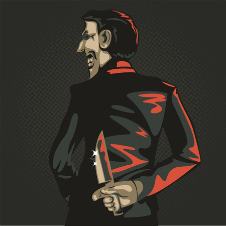 deceive: danger betrayal businessman in  illustration, businessman hold on knife in concept of business betray Illustration