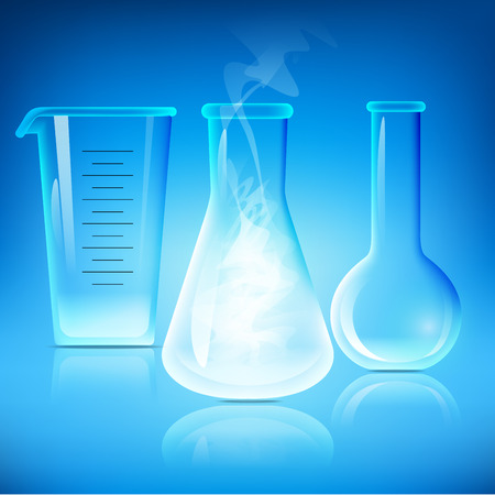 Illustration of chemical beaker, chemical flasks - laboratory glassware, isolated on blue background; 3d illustration. Illustration