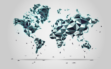 worl: World map in polygonal style; polygon elements for info graphics; falling apart worl map