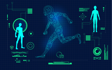 abstract technological health care; science blue print; running robot on scientific interface; digital blueprint of cyborg's parts