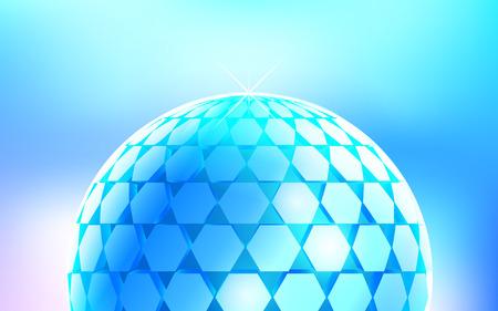 3d vector digital spherical object. Geometric polygonal blue ball on light-designed background.  abstract metallic technology ball