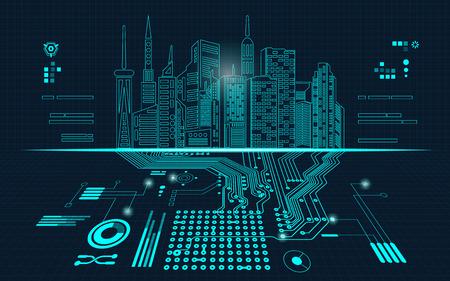 fond abstrait de la technologie; bâtiment numérique dans un style de matrice; ville technologique combinée avec carte électronique