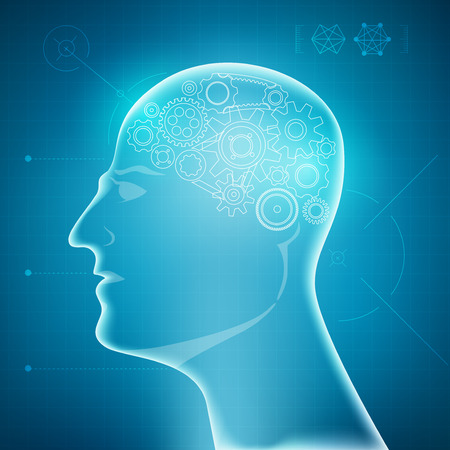 buleprint of A.I. invention, robot brain diagram, 3D body part of human on a blue background, technology of man healthcare