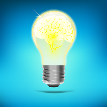 concept of brain in a lightbulb