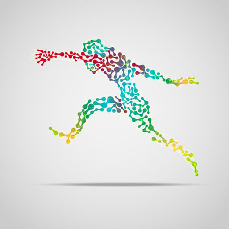 man abstract: colorful running man, abstract sport man, concept of sport science