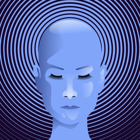 Hypnotised girl, mysterious woman on round hypnotizing background