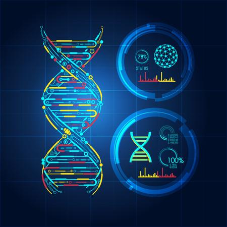 Blueprint of DNA, DNA symbol in technological looks. 矢量图像