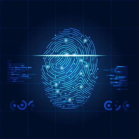 電子指紋スキャン画面をデジタル セキュリティの概念。  イラスト・ベクター素材