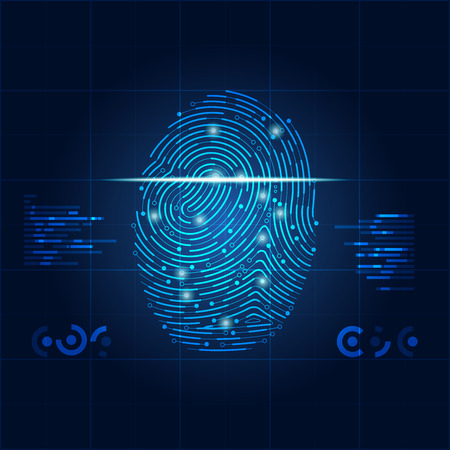 Concept of digital security, electronic fingerprint on scanning screen.