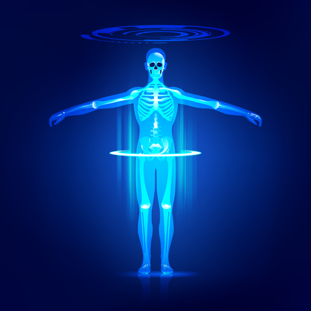 abstract technological health care; digital blueprint of human; 3D body part of human, concept of body scanning