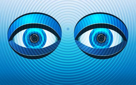 Concept of robot eyes in hypnotizing theme